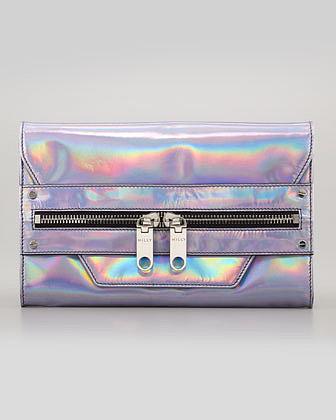 Milly Hologram Demi Clutch Bag, Silver