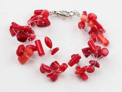 Multi Strands Red Coral Bracelet with Lobster Clasp Multi Strands Red Coral Bracelet with Lobster Clasp