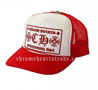 "Cheap Red Chrome Hearts ""CH"" Trucker Mesh Cap"