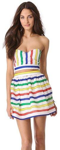 Alice + olivia Striped Bustier Bra Top