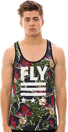 The Born Fly Floral Tank Top in Navy