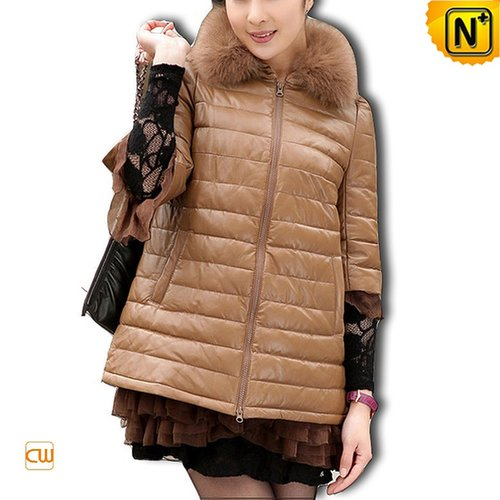 Designer Women Leather Down Coat CW610016 - cwmalls.com