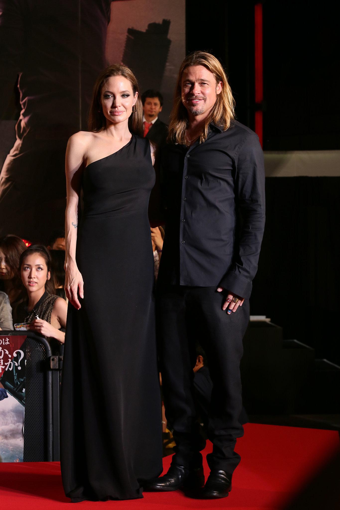 Angelina Jolie and Brad Pitt premiered World War Z in Tokyo on Monday.
