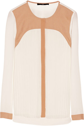Tibi Contrast yoke silk blouse