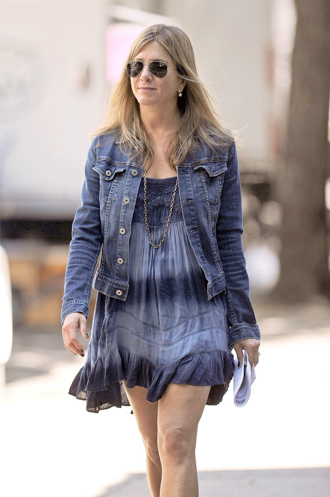 Jennifer Aniston flashed a smile on July 30.
