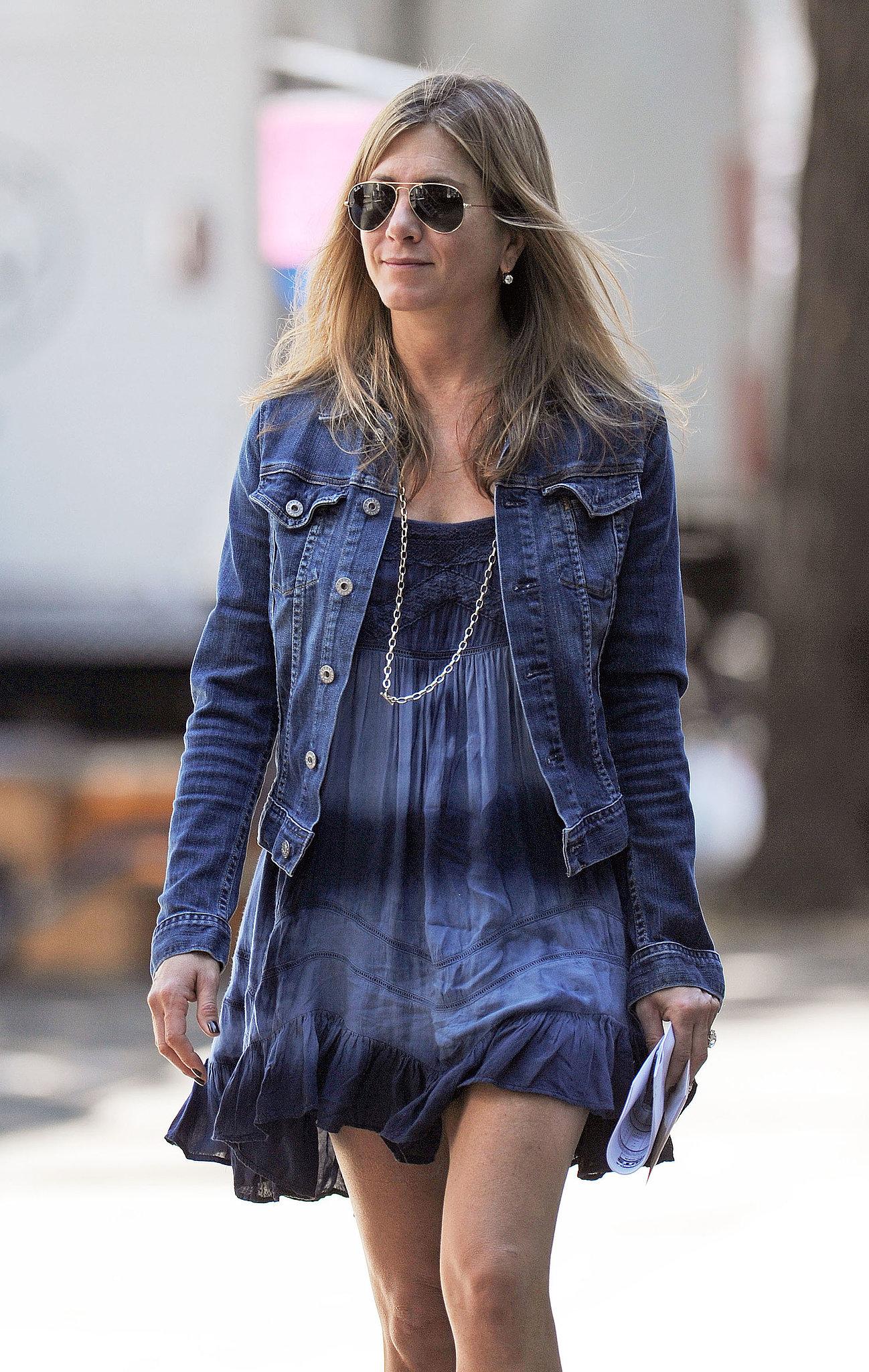 Jennifer Aniston made a July 30 stop by the set.