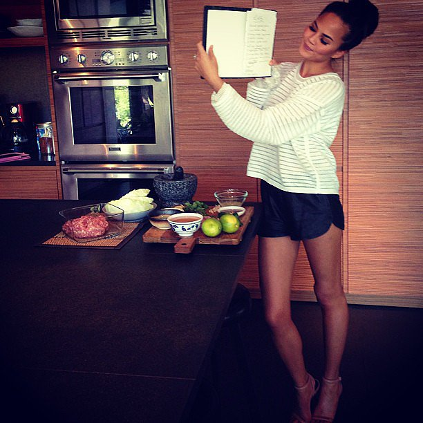 Chrissy Teigen showed off a new recipe to her fans — we love her cooking attire! Source: Instagram user chrissyteigen