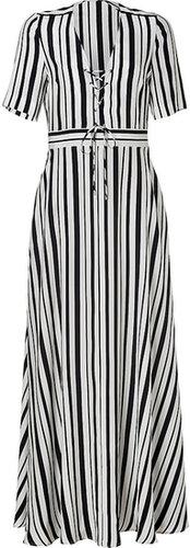 Paul & Joe White/Black Striped Silk Maxi-Dress