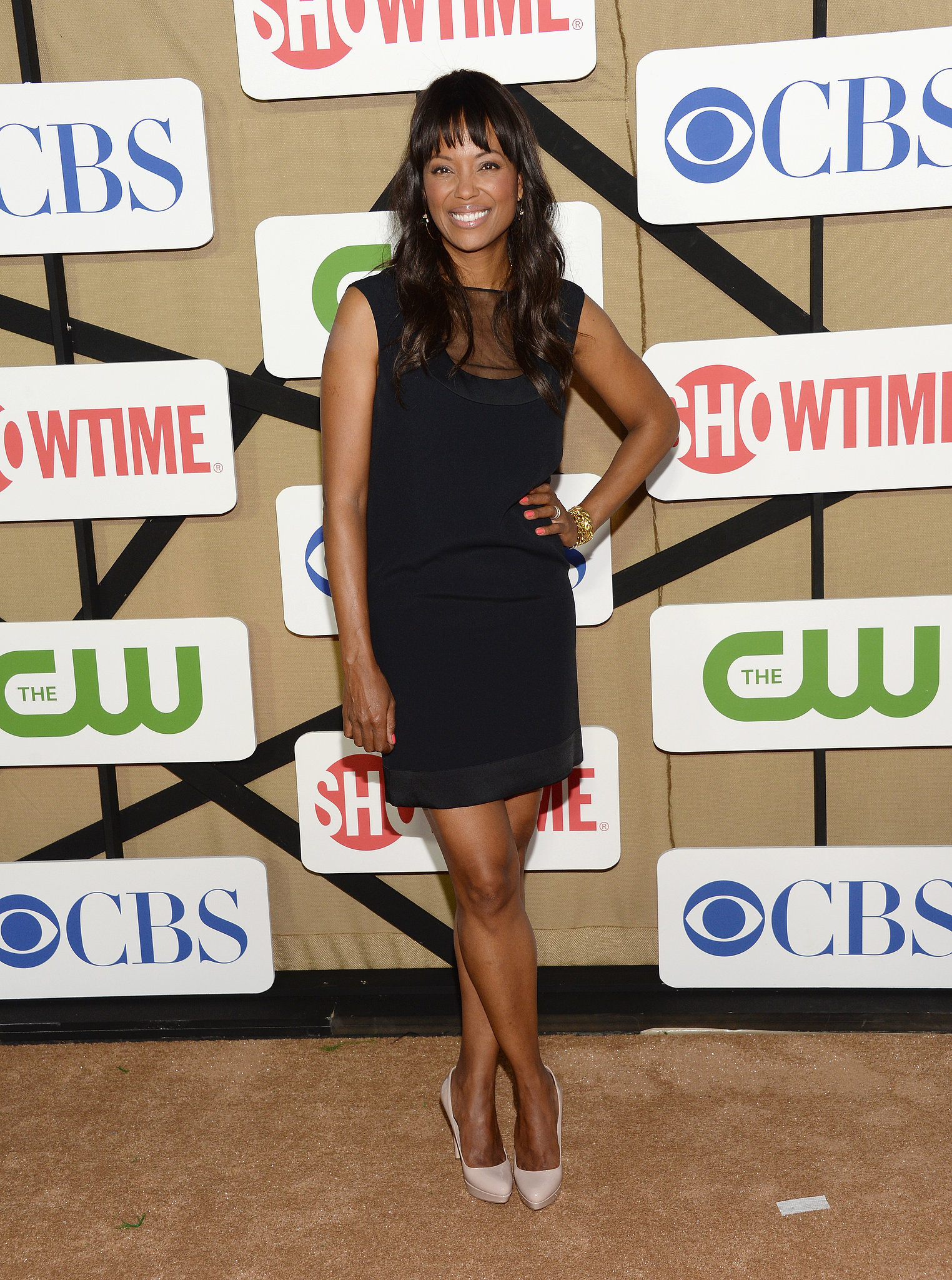 Aisha Tyler wore a short black dress to the CW, CBS, and Showtime party.