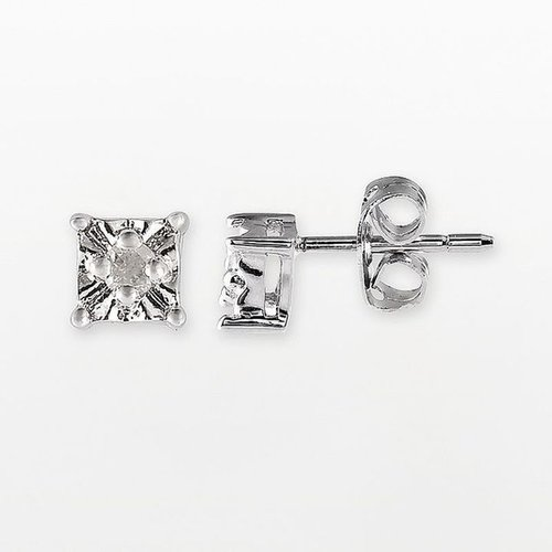 Sterling silver 1/10-ct. t.w. princess-cut diamond stud earrings