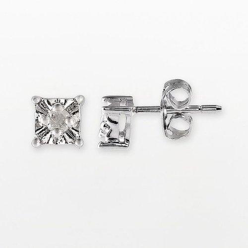 Sterling silver 1/10-ct. t.w. princess-cut diamond stud earrings