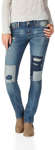 NEW! Bayla Skinny Medium Wash Patchwork Jean