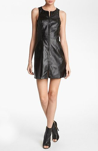 ASTR Faux Leather Zipper Shift Dress