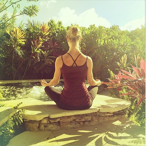 Rosie Huntington-Whiteley found a peaceful space for her outdoor practice.