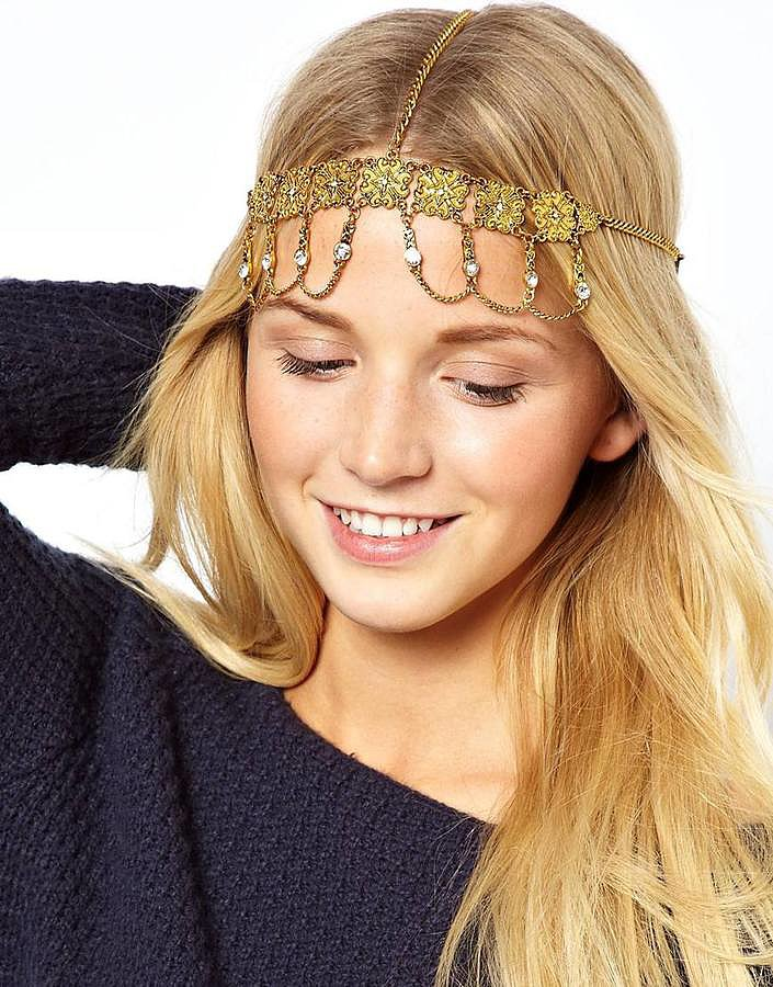 Your textured festival waves will get a royal lift with this ASOS Ornate Coin Crown Headband ($20).