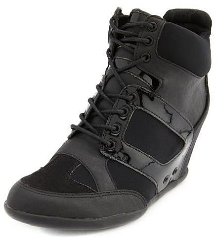 Mixed Media Lace-Up Wedge Sneaker