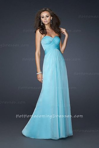 Formal Aqua Long Strapless Homecoming Ruffled Dresses Cheap