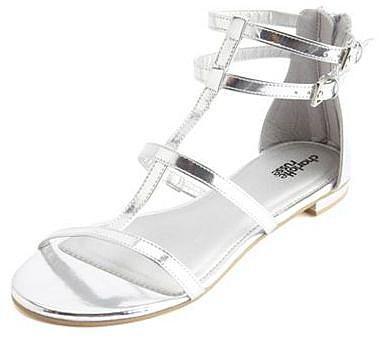 Metallic T-Strap Flat Sandal
