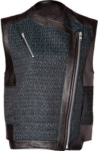 Helmut Lang Leather Paneled Biker Vest in Everest/Black