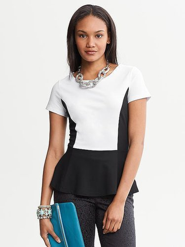 Colorblock Ponte Peplum Top