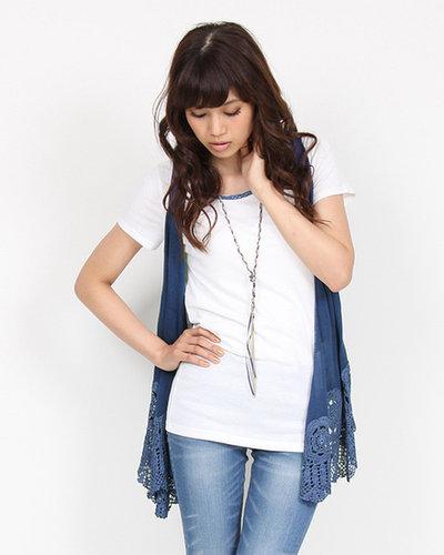 【ビッキー】部分カギ針ネックレス付きジレアンサンブル