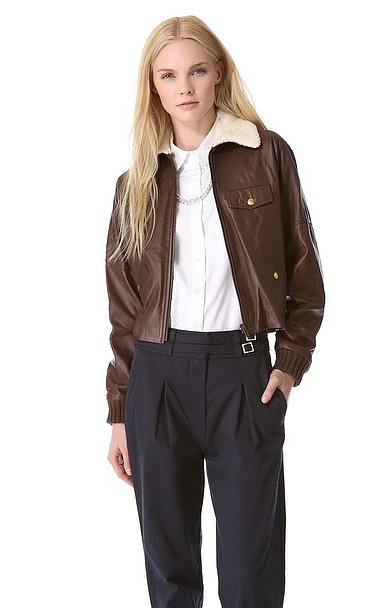 The easiest way to make your Summer favorites transition into Fall? By throwing a supple leather jacket over them like this Band of Outsiders style ($1,895).