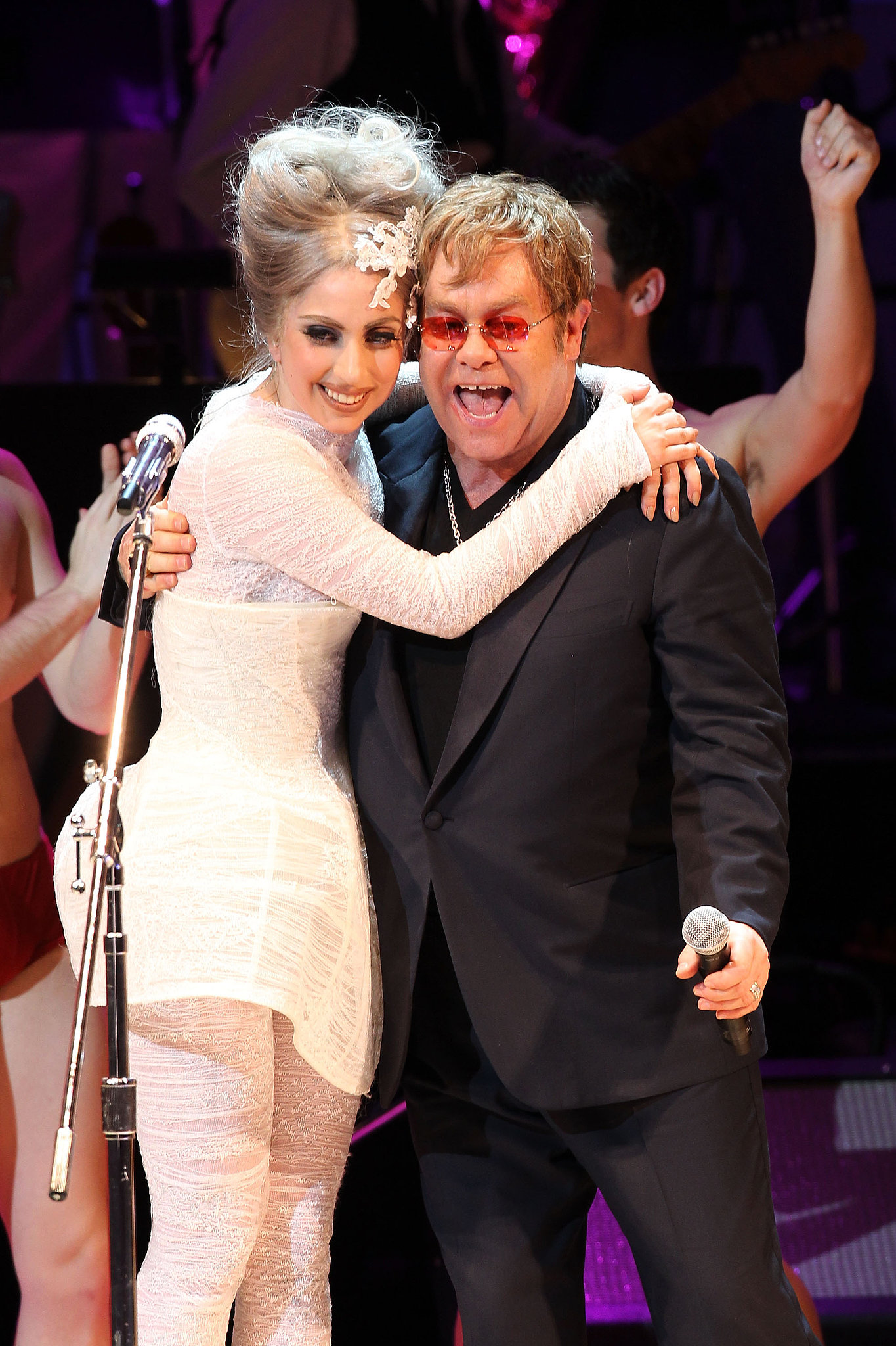 """When Elton John and his husband, David Furnish, welcomed their son Zachary in 2011, they asked Lady Gaga to act as his godmother. The couple confirmed the news in an interview with Barbara Walters, saying, """"When you get to the real person under there, there's a real simple person under there who loves her parents."""" Gaga has clearly done a good job with the role, as Elton and David gave her the title for their second son, Elijah, who was born in April 2013. Elton John may be the ultimate godparent himself, as he's been bestowed with the title by 10 close friends including John Lennon, Elizabeth Hurley, and. . ."""