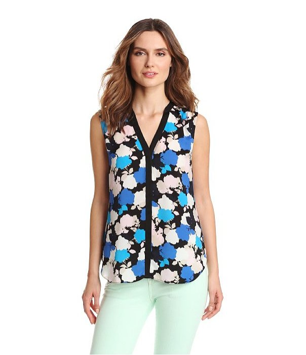 There's a pop art feel to DKNYC's sleeveless blouse ($39, originally $79) that would brighten up the longest of work days.