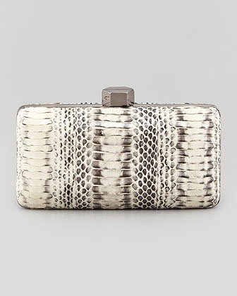 Milly Makenna Snakeskin Minaudiere, Black/White