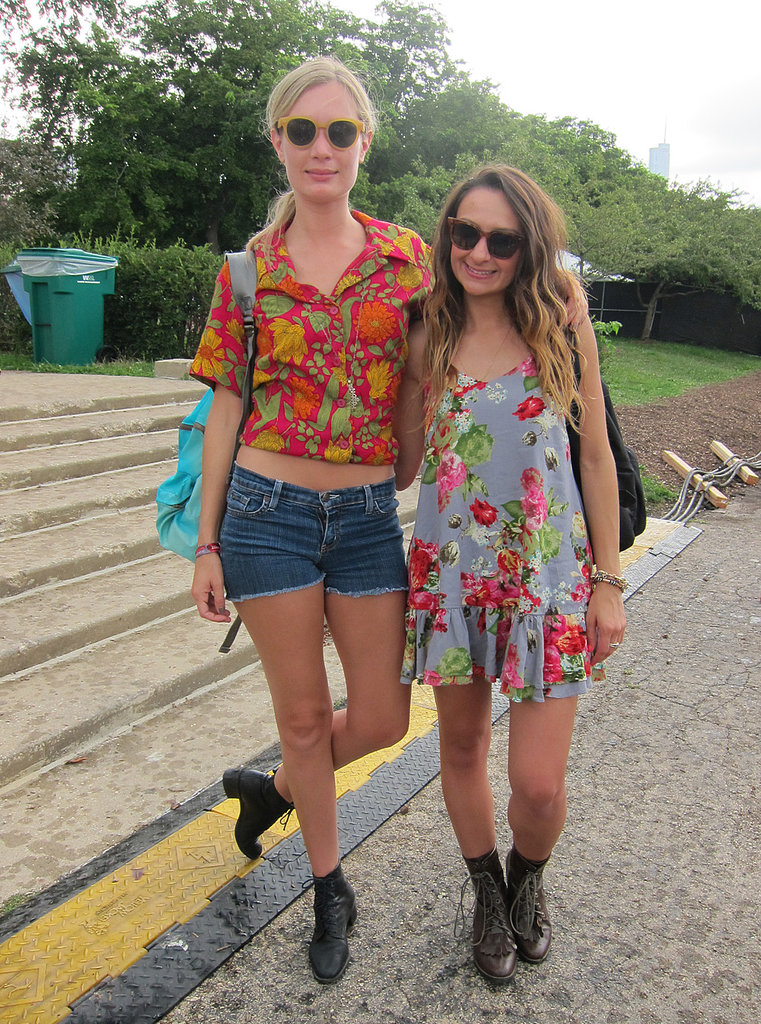 We love friends who coordinate! Both in TOMS sunglasses, Katie paired her yellow frames with a Lonely Dot top, vintage Levi's, and an Opening Ceremony backpack. Whitney also went floral with a vintage dress.