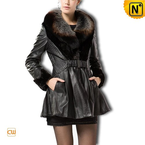 Women Sheepskin Leather Coat CW610026 - cwmalls.com