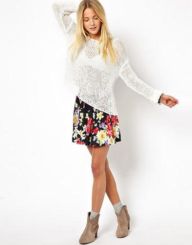 ASOS Skater Skirt in Large Floral Print