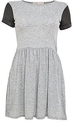 Cameo Rose Grey Leather-Look Cap Sleeve Skater Dress
