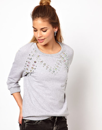 Glamorous Sweatshirt with Iridescent Jewels