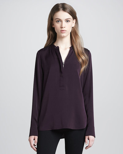 Vince Zip-Placket Silk Blouse