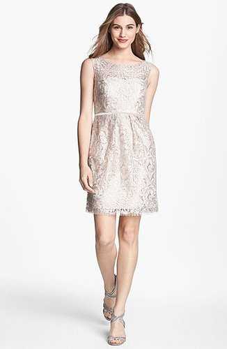 Jenny Yoo 'Harlow' Metallic Lace Sheath Dress