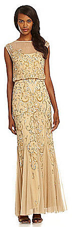 Aidan Mattox Illusion-Neckline Sequin Gown