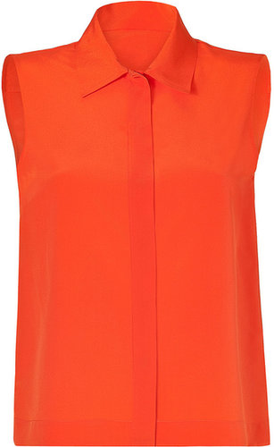 Moschino Bright Orange Sleeveless Silk Top