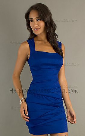 Blue Two Straps Taffeta Short Home Coming Dresses Cheap