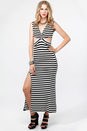 Striped V-Neck Rib Cut Out Maxi Dress