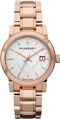 Burberry Medium Check Stamped Bracelet Watch, 34mm Rosegold