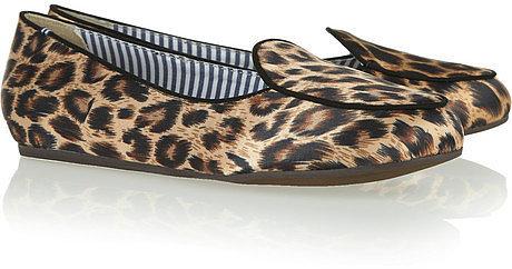 Charles Philip Shanghai Oli leopard-print satin slippers