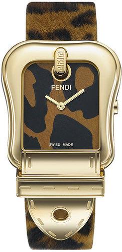 Fendi 'B. Fendi' Large Animal Print Watch Gold/ Animal