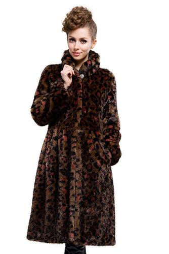 good quality faux mink fur leopard grain collar|long coat|free shipping