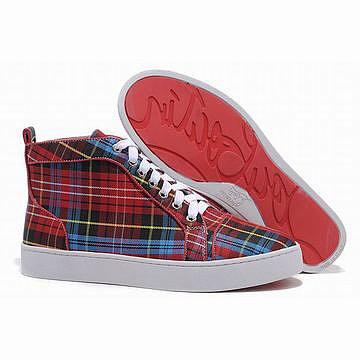 Red Bottom Christian Louboutin Louis Tartan Mens Sneakers Red