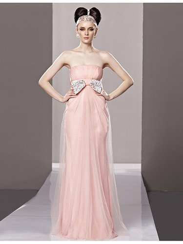 Pink Strapless Sleeveless Beaded Organza Bridesmaid Dress PD80668