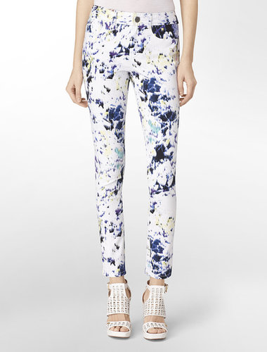 Abstract Paint Print Skinny Jeans