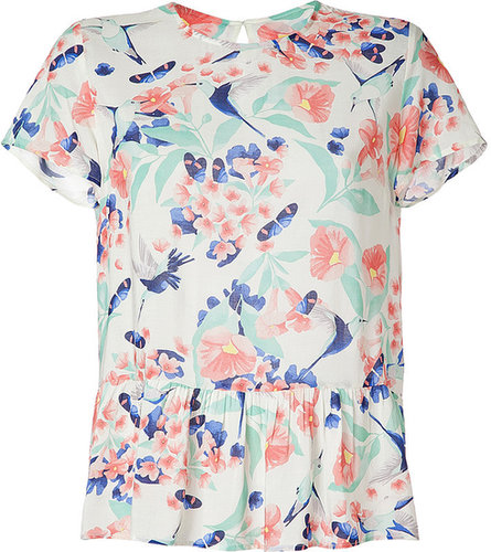 Paul & Joe Sister Ecru-Multi Print Colibri Top