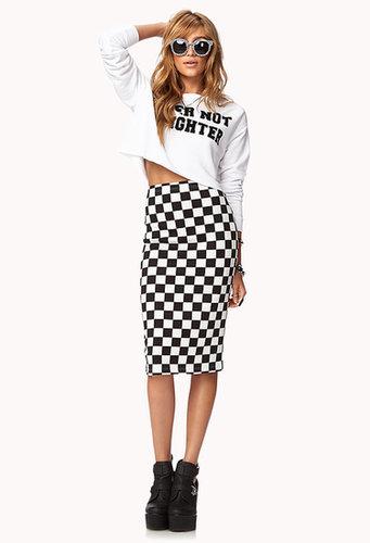 FOREVER 21 Checkered Midi Skirt
