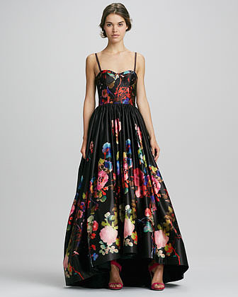 Alice + Olivia Addie Floral-Print High-Low Gown
